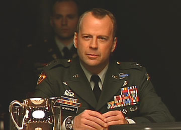 General Devereaux (Bruce Willis) delivers lines in 1998 in The Siege echoed on September 11, 2001 by President George W. Bush.