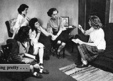 girls participate in a meeting of the west branch michigan babysitter union in 1947 photograph appeared in womens home companion march 1947